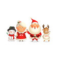 santa claus with family celebrate holidays - moose vector image vector image