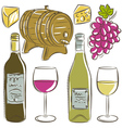 set of glasses and bottles for wine vector image vector image