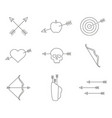 set of monochrome icons with archery vector image vector image