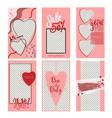 set of valentine s day instagram sale stories vector image vector image
