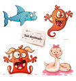 shark monster snake -set animals vector image