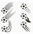 soccer or football balls set with motion trails vector image vector image