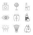 strong body icons set outline style vector image vector image