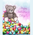 teddy bear and valentine hearts vector image vector image