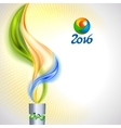 Torch with flame in colors of the Brazilian flag vector image