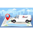white van over folded flat map and red pin vector image vector image