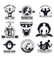 bodybuilding and fitness gym logos and emblems vector image