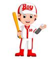 boy baseball player vector image