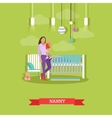 Nanny with a child Nursery room interior vector image