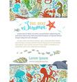 cartoon background of marine life vector image