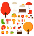 set of autumn fall elements or symbols vector image