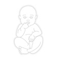 Adorable beautiful newborn baby looking up vector image