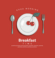 banner for breakfast with plate fork and spoon vector image vector image