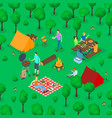 bbq picnic concept 3d isometric view vector image vector image