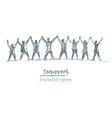 business people hands spirit togetherness vector image