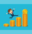 businessman are happy at the bitcoin prices up vector image vector image