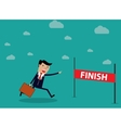 Businessman Run Cross Finish Line