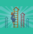 businesswoman climbing up the business ladder vector image vector image