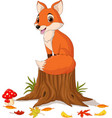 cartoon happy fox sitting on tree stump vector image vector image