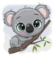 cartoon koala is sitting on a tree vector image