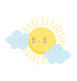 cartoon sun clouds sky isolated icon design white vector image vector image