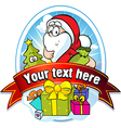 christmas label with Santa Claus and gifts vector image vector image