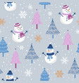 christmas seamless pattern with snowman on gray vector image