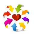 colorful arrows around red paper cut heart vector image