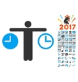 Compare Time Icon With 2017 Year Bonus Pictograms vector image vector image