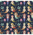 Cute mermaids seamless pattern vector image vector image