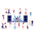 dancing people dj disco party dance women men vector image vector image