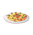 delicious frittata isolated icon vector image vector image