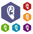 Ear icons set vector image