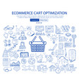 ecommerce cart optimization concept with business vector image vector image
