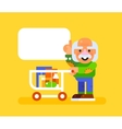 Elderly man with trolley at supermarket vector image