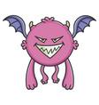 evil purple flying cartoon bat monster vector image