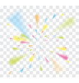 falling confetti with ribbons on transparent vector image