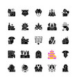 family party black glyph icons set on white space vector image vector image