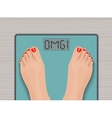 Feet on weighing scales top view Health concept vector image
