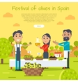 Festival of Olives in Spain Web Banner Flat Style