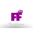 ff f f dots letter logo with purple bubbles vector image vector image