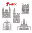 french travel landmark icon of religious building vector image vector image