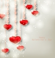 glowing background with hanging hearts vector image