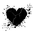 grunge heart shape and paint blobs splattered vector image vector image