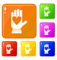 hand with heart icons set color vector image vector image