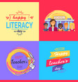 happy teacher s day collection of colorful posters vector image vector image