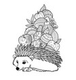 hedgehog with apples and mushrooms doodle coloring vector image vector image