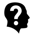 Human face with question mark vector image vector image