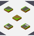 isometric road set of footer turn unilateral and vector image vector image