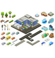 isometric supermarket elements set vector image vector image